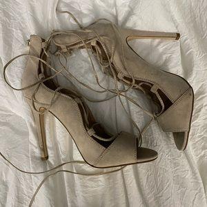 Tie Up Nude Heels